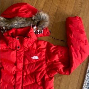 Red North Face puffer cost
